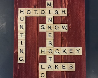 Scrabble Wood Hanging Sign
