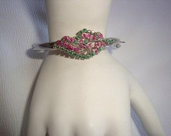 Spectacular Emerald and Ruby Rhinestone Bracelet
