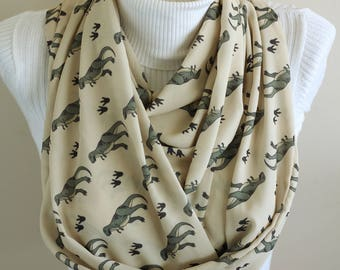 Dinosaur Scarf Dino Infinity Scarf Dinosaur Party Dinosaur Birthday Gift for Her Paleontology Accessories for Women Dinosaur Gifts