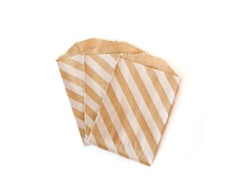White Striped Mini Kraft Paper Bags // Itty Bitty Bags // Striped Favor Bags // Treat Bags // Flat Paper Bags 4x2.75 (Set of 25)