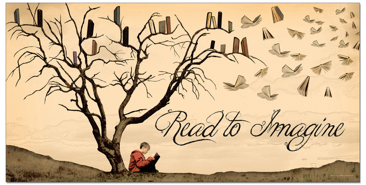 Literacy Art Print. Read to Imagine. Reading Motivational