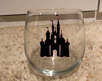 Disney inspired castle wine glass or tumbler