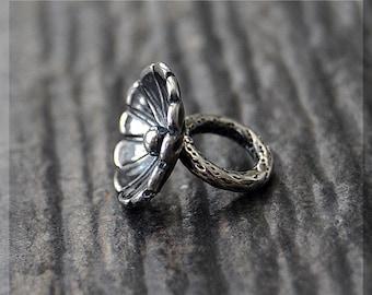Sterling Silver European Style Flower Charm, Handmade Slide Charm, Personalized Cupped Flower Charm, Big Hole Bead, Flower Slider Charm