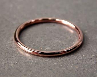 14K Rose Gold Ring, Skinny Rose Gold Stacking Ring, Full-Round Stacking Ring, Solid 14K Rose Gold Ring, Made to Order