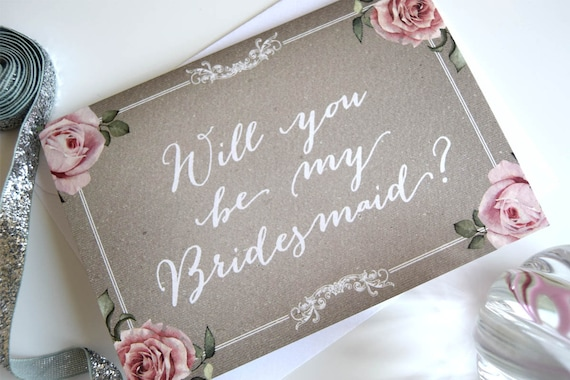 Will you be my bridesmaid card (floral grey)