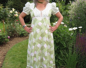 Vintage 1970s Maxi Patchwork Print Country Dancing Dress with Puff Sleeves and Lace Trim