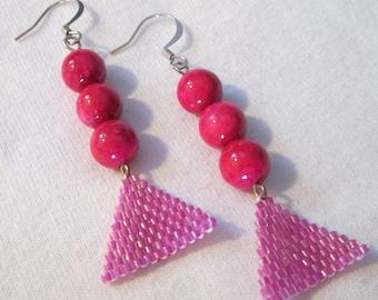 Magenta and Fuschia Beaded Dangle Earrings