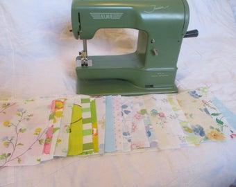 "vintage bed sheet 5"" squares, quilting squares, 5X5 vintage sheet charm pack, precut 5"" squares"