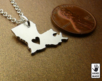 Louisiana State Map Handmade Personalized Fine Silver .999 Necklace in a gift box