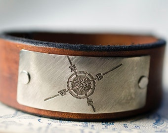 Compass Rose Leather Snap Cuff with Engraved Metal Plate