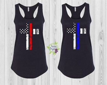 Thin Blue Line Distressed Cross OR Thin Red Line Cross Summer Tank Top - Next Level Racerback Tank-Law Enforcement - Firefighter