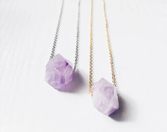 Faceted Amethyst Necklace | February Birthstone Gemstone Necklace | Bohemian Stainless Steel Necklace