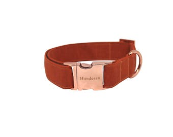 TERRACOTTA dog collar with Rosé gold clasp