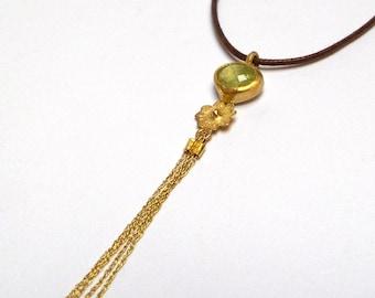 Pendant - Gold pendant - Peridot pendant - Silver Necklaces - Necklaces - 24 k gold pendant - Free Shipping!!!