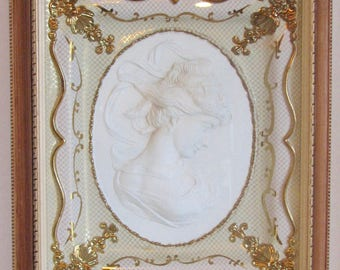 1960s PIcture Shadowbox Cameo Embossed Gold Framed Regency Style East Wind