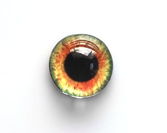 16mm handmade glass eye cabochon - Orange / green eye - HEMISPHERICAL / High dome
