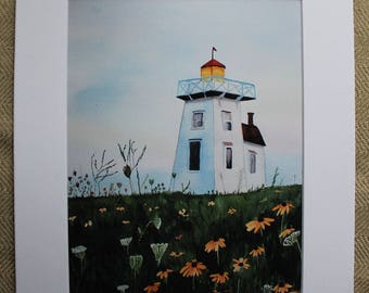 Nova Scotia Lighthouse Watercolor, Lighthouse Watercolor, Wildflowers, Watercolor Print, Nautical Painting,  Nova Scotia, Seascape Painting