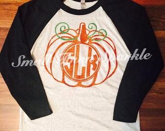 Glitter Pumpkin Monogram Shirt