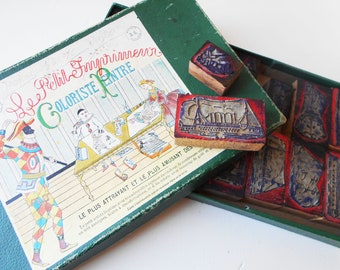 Old French Rubber Stamps in Box Ships Farm Life
