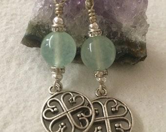Jade Celtic Cross Earrings