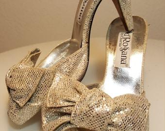 FREE  SHIPPING   1980 Designer Metallic Heels