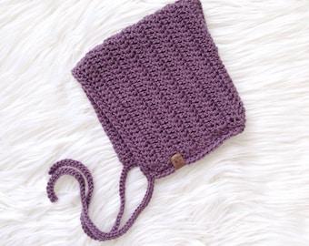 Purple Pixie Bonnet, baby hat, newborn hat, toddler hat, Baby shower gift, bonnet bébé, vintage baby, vintage bonnet, spring hat