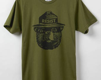 Smokey Resist - Men's T-Shirt - Resist Shirt - Made in USA - Smokey the Bear Resistance