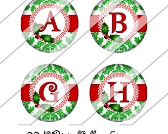 Christmas Damask Digital Collage Sheet, One Inch Circles, Instant Download, Damask, Image, Red, Green, Holly, Inchies, Bottle Cap Images