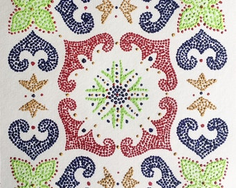 "Dot Pointillism, Acrylic, 12""x12"" watercolor paper, original, dot art, pointillist art, quilt block, pointillism, tile"