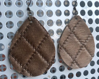 Brown Quilted Pattern leather teardrop earrings