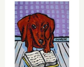 25% off dachshund art - Dachshund Reading Dog Art Print   modern abstract folk pop art AMERICAN ART gift - dachshund gifts