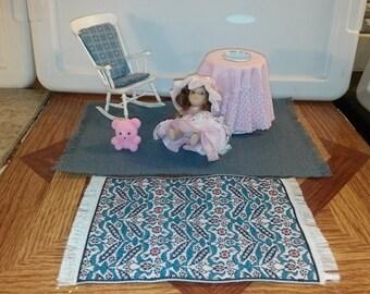 High Quality dollhouse furniture living room set lot Chrysnbon rocking chair dressed table little girl doll teddy bear w/ matching rugs 1/12