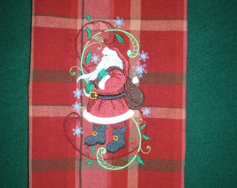 Santa in Swirls Christmas Embroidered Towel