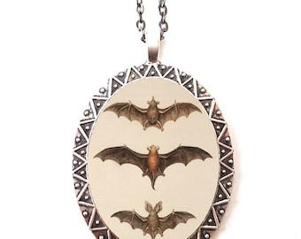 Victorian Bat Necklace Pendant Silver Tone - Bats Goth Macabre Vampire Gothic