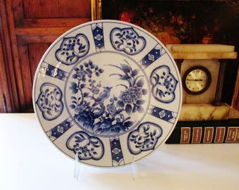 Chinoiserie Blue and White Decorative Plate, Palm Beach Decor, Blue Transferware Plate, Andrea by Sadek, Wall Gallery Decor