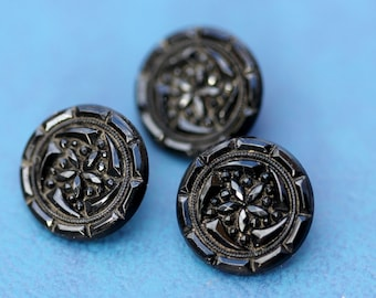 Set of 3 Antique Fine Black Glass Victorian Buttons with Claw Shanks