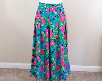 Bright & Colorful 90s Skirt - M/L - Vintage Skirt - Pleated Skirt - Colorful Skirt - 90s Clothing - Summer Skirt - Floral Skirt - Tropical