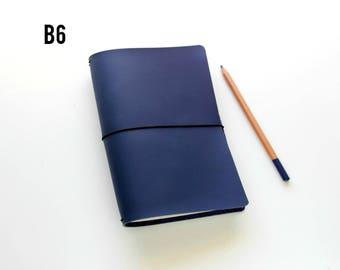 B6 Travelers Notebook Cover / Fauxdori B6 Cover For B6 Inserts / Travelers Notebook B6 Cover, Matte Blue Like Midori Pan Am / B6 Fauxdori