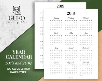 Year Calendar Printable 2018/2019, Year at a Glance, Yearly Agenda, Half Letter Size, Filofax A5, A4, Sunday Start/Monthly Planner