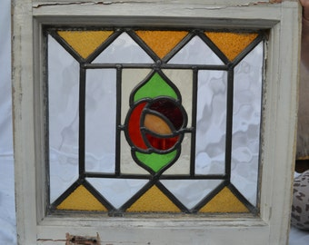 1 British leaded light stained glass panel. R607d. WORLDWIDE DELIVERY!!!