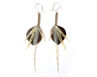High Fashion Leaf Feather Earrings in Chocolate and Cream