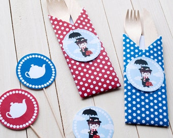 Set posate in legno - Bustina origami + cake topper  - Mary Poppins theme party - 10 pezzi