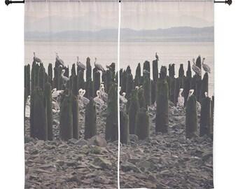 Sheer Curtains - Home Decor, Birds, Pelicans, Ocean, Sea, nature photography by RDelean Designs