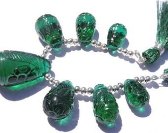7 Pcs AAA Green Quartz Mughal Carved Drops Briolette Size 15*8 - 26*15 MM