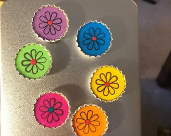 """Colorful Spring Daisy Flower 1"""" Bottle Cap Magnets"""