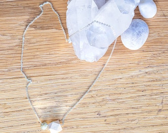 Essential Oil Diffuser Necklace with choice of Essential Oil Blend // Wood & Gemstone Bead on Silver Chain