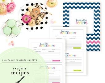 Favorite Recipes Planner Inserts / Binder Kit  - A Printable PDF