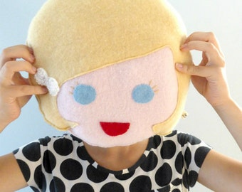 Girl Face Pillow - Doll Face Pillow - Girls Room Decor - Gender Reveal - Cashmere Pillow - Personalized Pillow - Blond Girl Face Pillow.