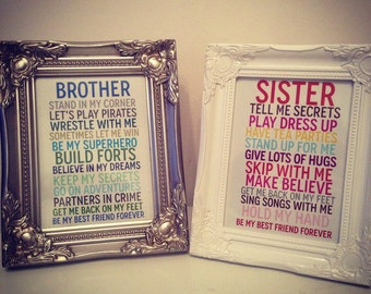 Sister/Brother gift perfect for siblings 7 x 5 print and frame in silver or white