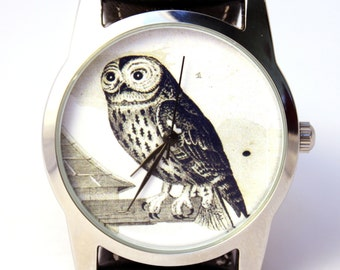 Owl Watch, Vintage Style Leather Watch, Women Watches, Boyfriend Watch, World Map, Men's Watch , Brown,